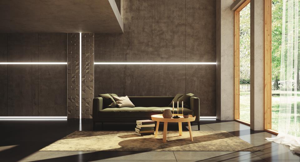 Lichtlinien im Wohnzimmer